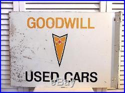 Vintage 1960s Pontiac GM Sign Used Car Trade Chevrolet 2 Sided Flange Original