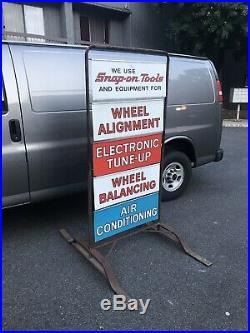 Vintage 1960s SNAP ON Tool Car Repair Garage Sidewalk Sign with Original Stand