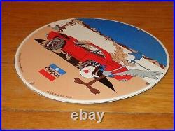 Vintage 1969 Plymouth Road Runner 11 3/4 Porcelain Metal Car Gasoline Oil Sign
