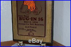 Vintage 1976 Auto Haus VW Bug iN 16 2nd place Trophy