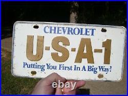 Vintage 60s original Chevy GM promo USA-1 license plate accessory Nova ss Camaro