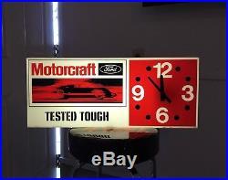 Vintage 70's Original Ford Motorcraft Lighted Sign / Clock Never Hung