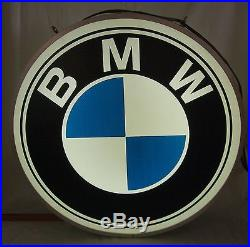 Vintage 70s BMW 24 automobile Motorcycle Double Sided Lighted Dealer Sign NPI