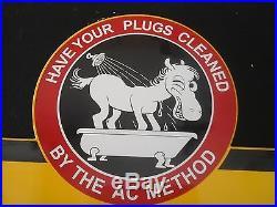 Vintage AC Plugs porcelain gas station sign metal garage car parts Horse Dated