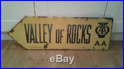Vintage Aa Valley Of Rocks Enamel Automobilia Sign Original Franco D/s