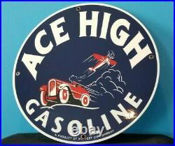 Vintage Ace High Gasoline Airplane Car Gas Motor Oil Service Station Pump Sign