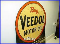 Vintage Advertising Buy Veedol Motor Oil Sign, Gas Oil, Original Two Sided Heavy