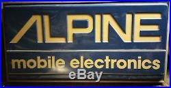 Vintage Alpine Mobile Audio Dealership Car Stereo Backlit lighted Sign neon HUGE