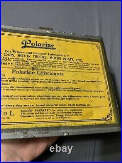 Vintage Antique Polarine Half Gallon Farm Tractors Motor Oil Auto Graphic Can