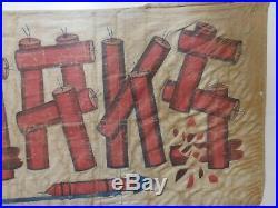 Vintage Antique Rare Fireworks Banner Advertising Sign Gas Oil Pop Car Truck