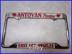 Vintage Antoyan Pontiac Dealer E. Los Angeles, CA License Plate Frame NOS 1950's