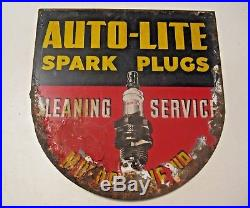 Vintage Auto Lite Spark Plugs Flanged Advertising Automotive Sign Barn Find