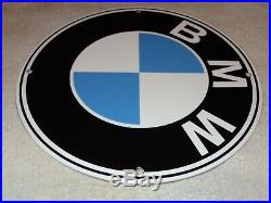 Vintage Bmw German Luxury Car 11 3/4 Porcelain Metal Gasoline & Oil Sign Sports