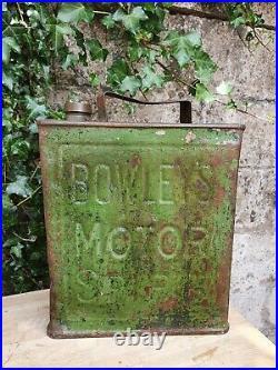 Vintage Bowleys Motor Spirit 2 Gallon Petrol Can Automobilia Collectable Oil