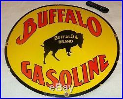 Vintage Buffalo Brand Gasoline Bison 30 Porcelain Metal Car Truck Gas Oil Sign