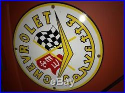 Vintage CHEVROLET CORVETTE porcelain metal dealer service shop sign Rare car vtg