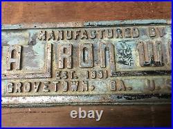 Vintage Cast Aluminum Sign Georgia Iron Works Grovetown GA. USA EST 1891