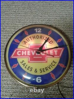 Vintage Chevrolet Authorized Sales & Service Clock (works) Pam Clock Co. 1963