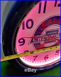 Vintage Chevrolet Dealer Sales Service Advertising Lighted Neon Clock RARE
