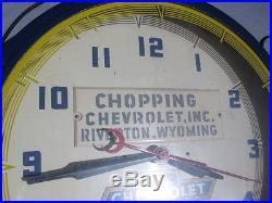 Vintage Chevrolet Neon Dealership Clock Truck Riverton, Wyoming Bowtie Logo