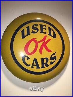 Vintage Chevrolet Ok Used Cars Trucks 22 Gas Oil Button Sign Light Porcelain
