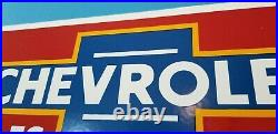 Vintage Chevrolet Porcelain Bow-tie Gas Auto Trucks Service Sales Dealer Sign