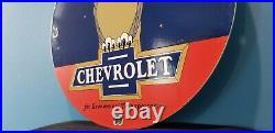 Vintage Chevrolet Porcelain Gas Auto Car Trucks Sales Service Dealership Sign