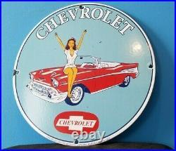 Vintage Chevrolet Porcelain Gas Auto Sales Service Station Dealership Pump Sign