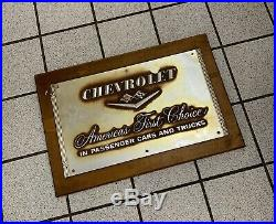 Vintage Chevrolet Sign Original 24 X 16 General Motors Dealership Showroom 1950s