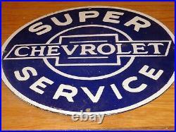 Vintage Chevrolet Super Service 12 Porcelain Ok Car Truck Gasoline Oil Sign