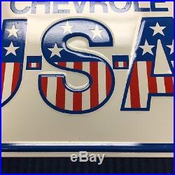 Vintage Chevrolet USA-1 Original Dealer License Plate green back really nice