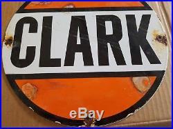 Vintage Clark Porcelain Sign Oil Gas Station pump plate Farm old car truck bus