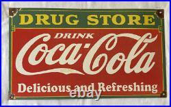 Vintage Coke Coca-cola 24 Drug Store Soda Porcelain Sign Car Truck Oil Gas