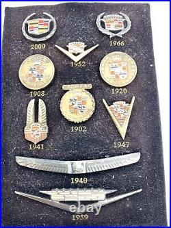 Vintage Colection Set Of 10 Cadillac Enamel Emblem Lapel Pin