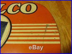 Vintage Delco Batteries Double Sided Sign AC GM Chevrolet Gas Oil