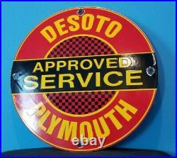 Vintage Desoto Plymouth Porcelain Gas Service Station Automobile Pump Plate Sign