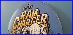 Vintage Dodge Automobiles Porcelain Gas Service Sales Chrysler Ram Charger Sign
