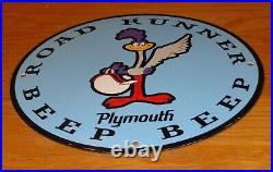 Vintage Dodge Plymouth Road Runner 11 3/4 Porcelain Metal Car Gasoline Oil Sign