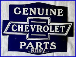 Vintage Double Sided Chevrolet 24 Parts Porcelain Sign Car Gas Oil Service