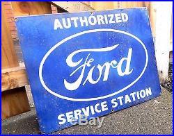 Vintage ENAMEL Ford Service Station SIGN ADVERTISING Motor CAR GARAGE ANTIQUE