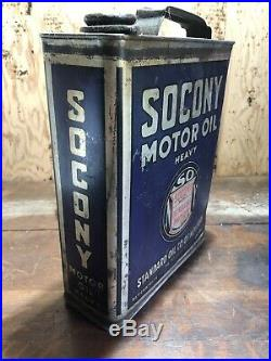 Vintage Early Socony Heavy Motor Oil One 1 Gallon Can Car Garage Gal Quart Half