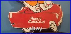 Vintage Esso Gasoline Oil Drop Boy Girl Porcelain Gas Automobile Large Car Sign