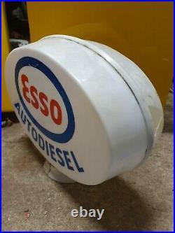 Vintage Esso diesel Plastic Petrol Pump Globe Automobilia Oil Original Garage