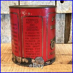 Vintage FIEBINGS DRESSING Auto Top Cushion Cleaner Tin Can Antique Car Graphics