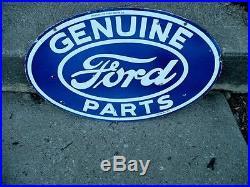 Vintage FORD Dealership Porcelain Sign Genuine Parts