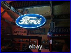 Vintage FORD OVAL Double Sided SIGN Car Truck DEALERSHIP Dealer MANCAVE Garage