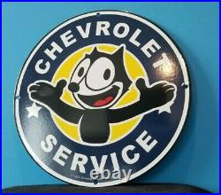 Vintage Felix Cat Chevrolet Porcelain Bow-tie Gas Automobile Trucks Service Sign