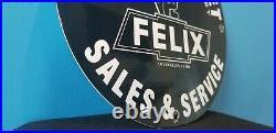 Vintage Felix Cat Top Hat Chevrolet Porcelain Bow-tie Gas Trucks Service Sign