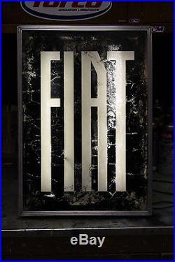 Vintage Fiat sign lighted sport car garage racing, Rare Dealership Sign, 1960's