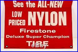 Vintage Firestone Store Display Sign Poster Banner Tire Car Paper Cardboard